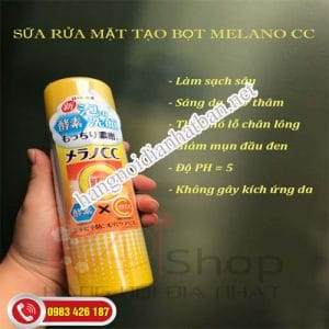 Sữa rửa mặt tạo bọt Rohto CC Melano với vitamin C và E