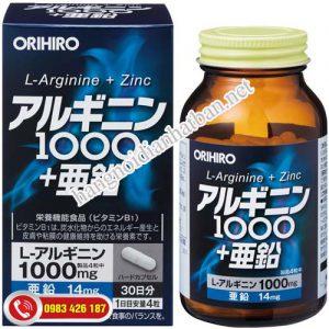 Viên uống bổ sung arginine 1000mg + Kẽm 120 viên Orihiro Nhật Bản