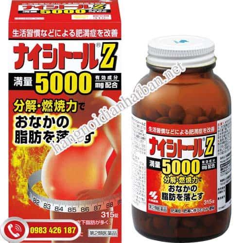 Viên uống giảm mỡ bụng Naishitoru Z5000 Kobayashi