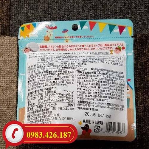 Kẹo nhai bổ sung Canxi và Lactic Unimat Riken cao cấp Nhật Bản gói 90 viên