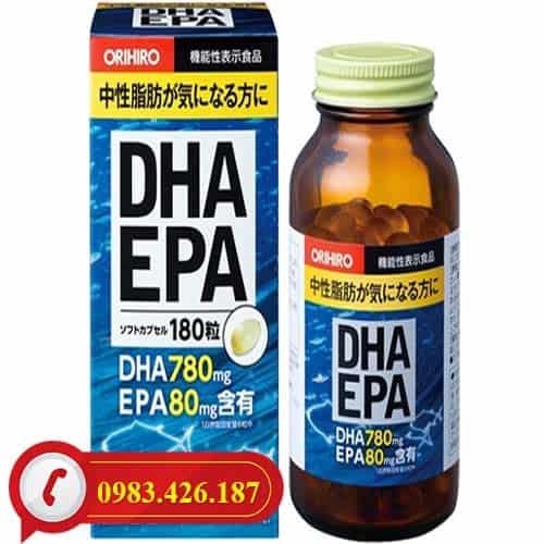 Viên uống bổ não DHA EPA Orihiro hộp 180 viên của Nhật Bản